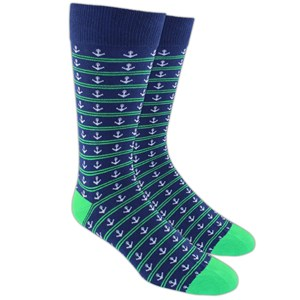 anchor stripe navy dress socks