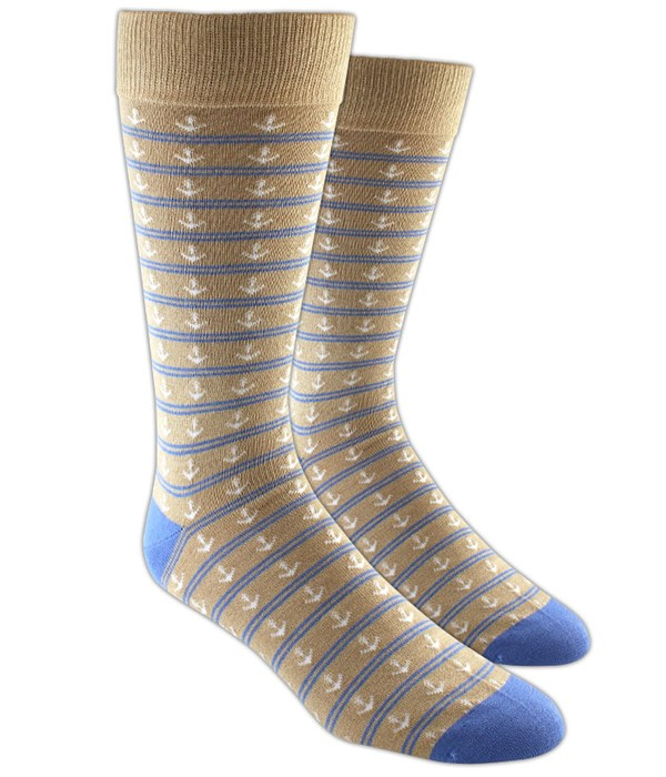 Anchor Stripe Tan Dress Socks