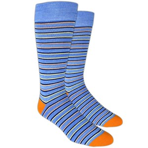 painted stripe blue dress socks