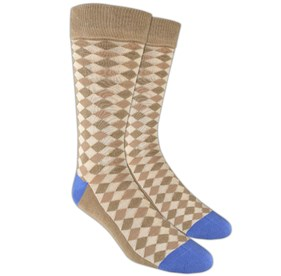 Tan Textured Diamonds mens socks