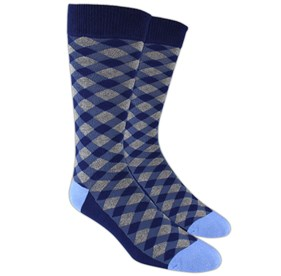 Blue Textured Diamonds mens socks