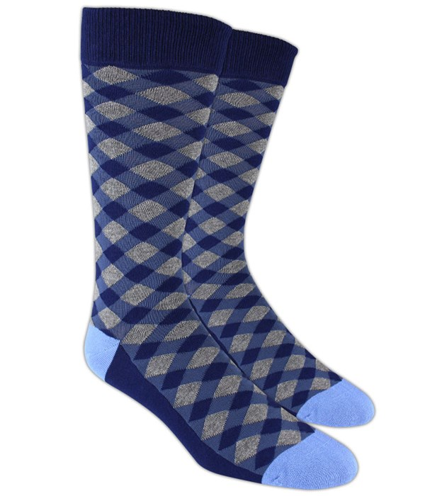 Textured Diamonds Blue Socks