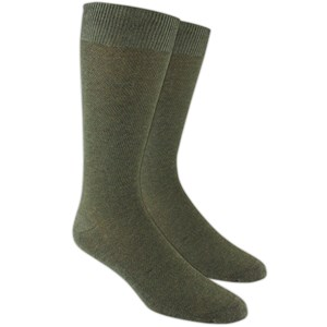 solid texture army green dress socks