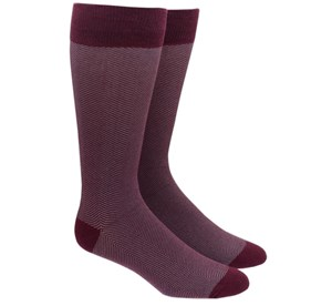 Burgundy Herringbone mens socks