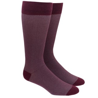 Herringbone Burgundy Dress Socks