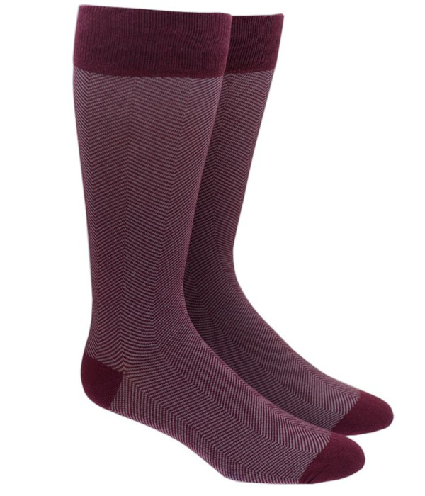 Herringbone Burgundy Socks