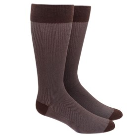 Brown Herringbone mens socks