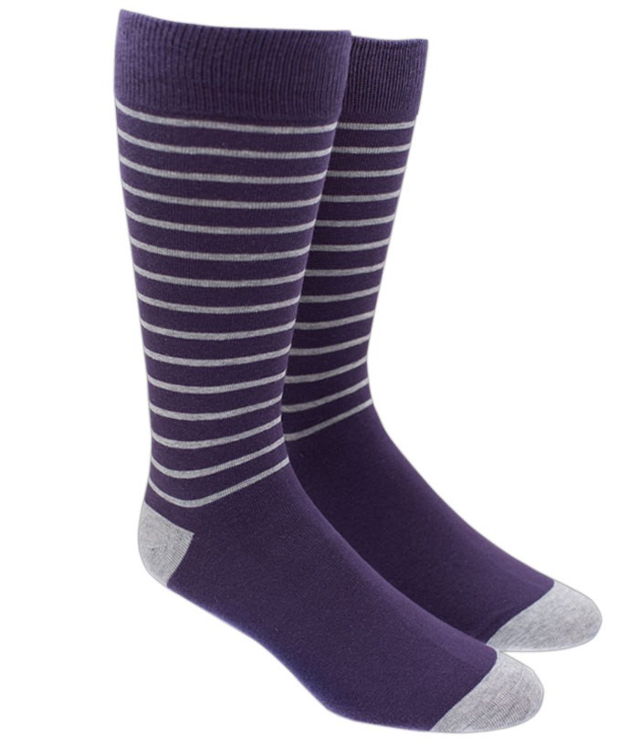 Woodland Stripe - Eggplant - Men's Shoe Size 7-12 - Socks