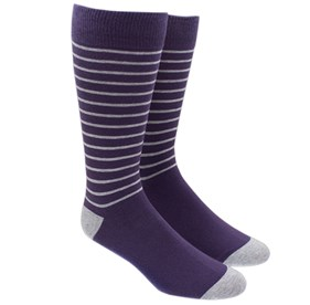 Eggplant Woodland Stripe mens socks