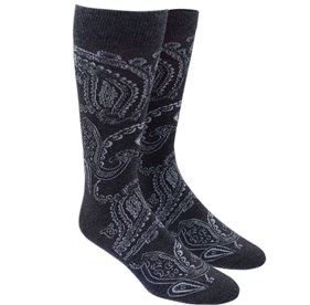 Charcoal Platform Paisley mens socks