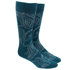 Green Teal Platform Paisley mens socks