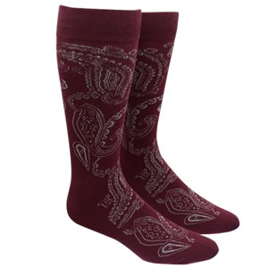 platform paisley burgundy dress socks