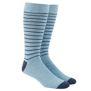 woodland stripe light blue dress socks