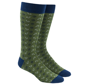Green Wheel And Anchor mens socks