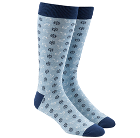 Wheel And Anchor Light Blue Men's Socks