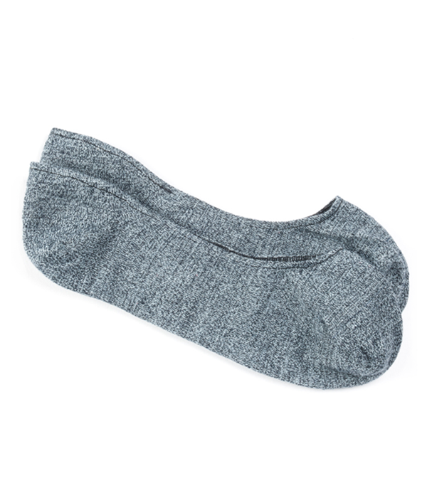 Textured Solid No-Show Blue Socks
