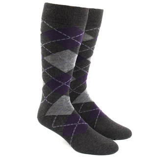 Argyle Charcoal Dress Socks