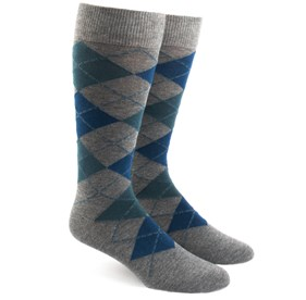 Teal Argyle mens socks