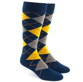 Yellow Argyle mens socks