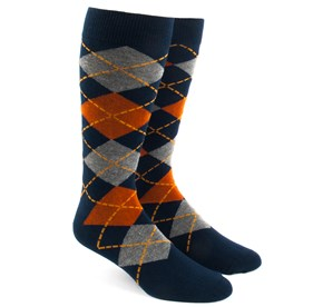 Orange Argyle mens socks