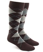 Men's Socks - Argyle - Brown