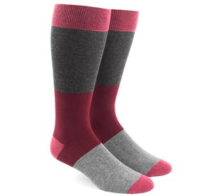 Colorblock Burgundy Men's Socks