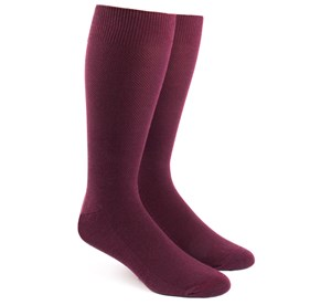 Burgundy Solid Texture mens socks