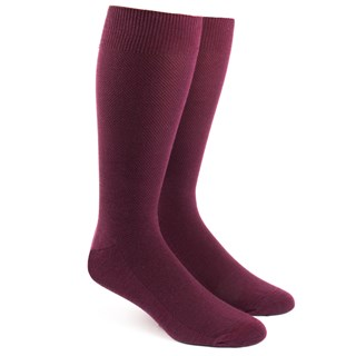 Solid Texture Burgundy Dress Socks