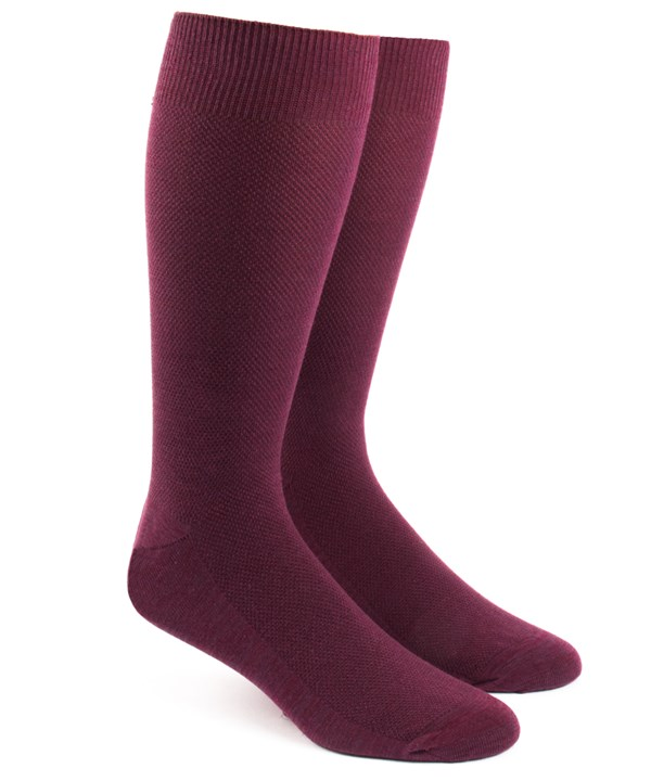 Solid Texture Burgundy Socks