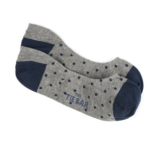 Polka Dot No-Show Navy Dress Socks