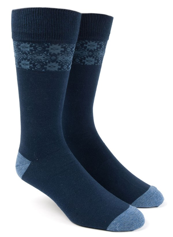 Southwest Panel Blue Dress Socks