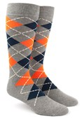 Men's Socks - Argyle - Tangerine