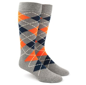 Tangerine Argyle mens socks