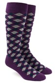 Men's Socks - Textured Diamonds - Eggplant