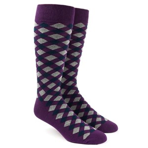 textured diamonds eggplant dress socks