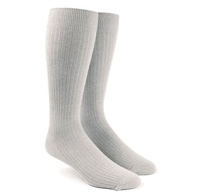 Ribbed Solid Light Grey Men's Socks