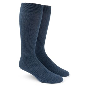 Ribbed Solid Navy Men's Socks