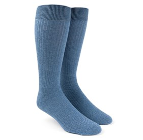 Ribbed Solid Blue Men's Socks