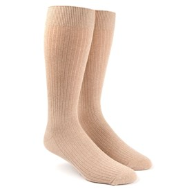Ribbed Solid Khaki Men's Socks