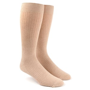 ribbed solid khaki dress socks