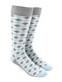 Men's Socks - Textured Diamonds - Light Blue