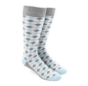 Light Blue Textured Diamonds mens socks
