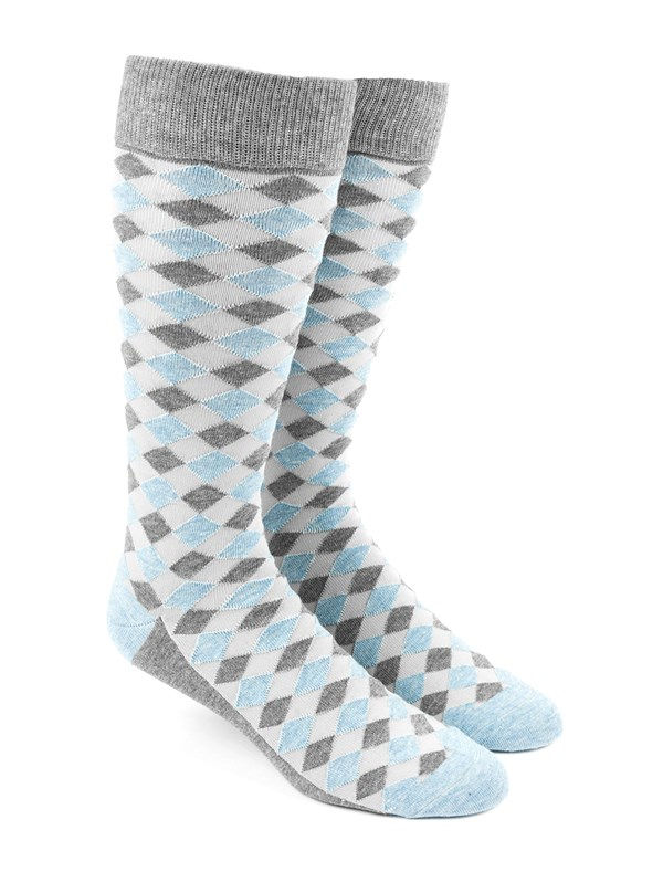 Textured Diamonds Light Blue Socks
