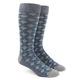 Blues Textured Diamonds mens socks