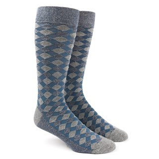 Textured Diamonds Blues Dress Socks