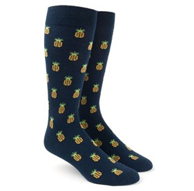 Navy Pineapple mens socks