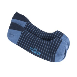 Pencil Stripe No-Show Light Blue Dress Socks