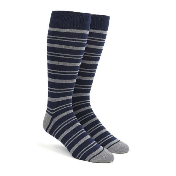 Navy Path Stripe Socks