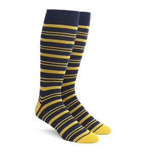 path stripe gold dress socks
