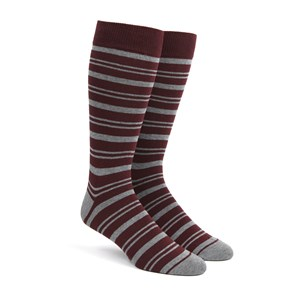 path stripe burgundy dress socks